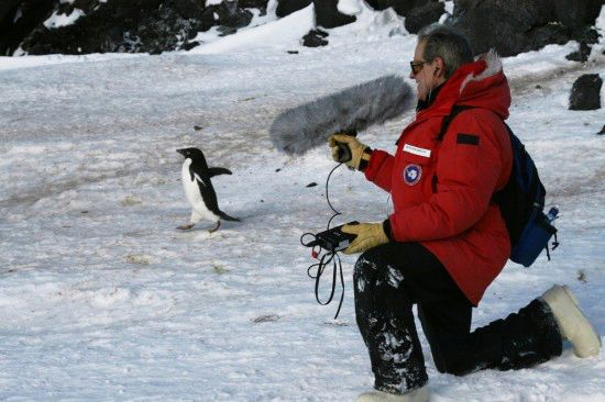 NPR Underwriting aligns leading brands with NPR's excellent storytelling & rigorous reporting. Photo of of NPR Correspondent Peter Breslow in Antarctica, recording audio to be featured on air.