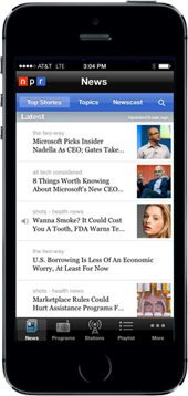 Screenshot of NPR mobile website and mobiles news advertising, featuring NPR.org advertising units.