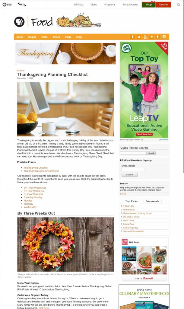 pbs food thanksgiving checklist