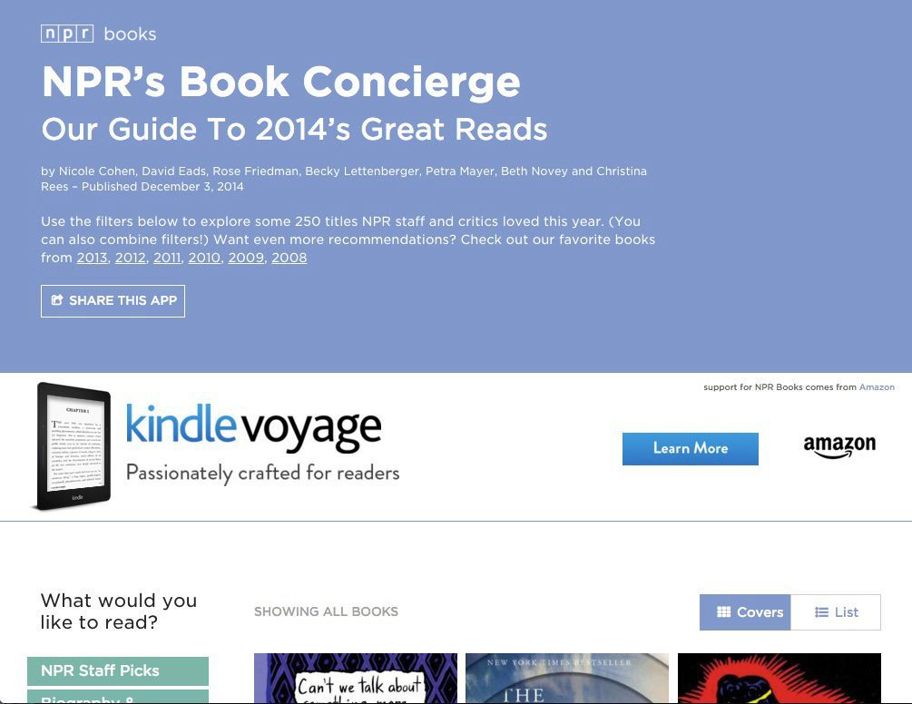 NPR's Book Concierge: Each book cover provides visitors with additional information on the title and directs visitors to author interviews, book reviews and additional NPR editorial coverage from throughout 2015
