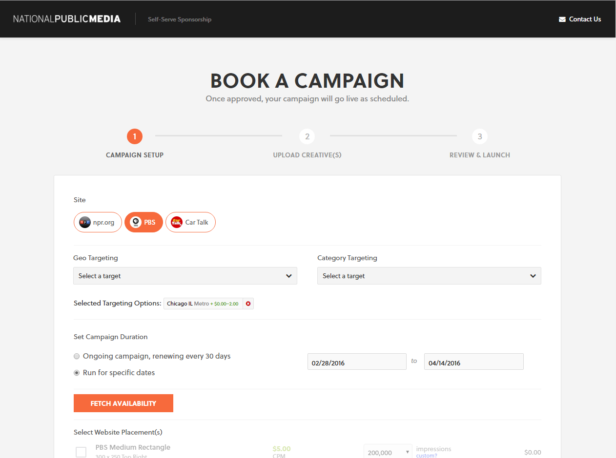 Self Serve Sponsorship Portal