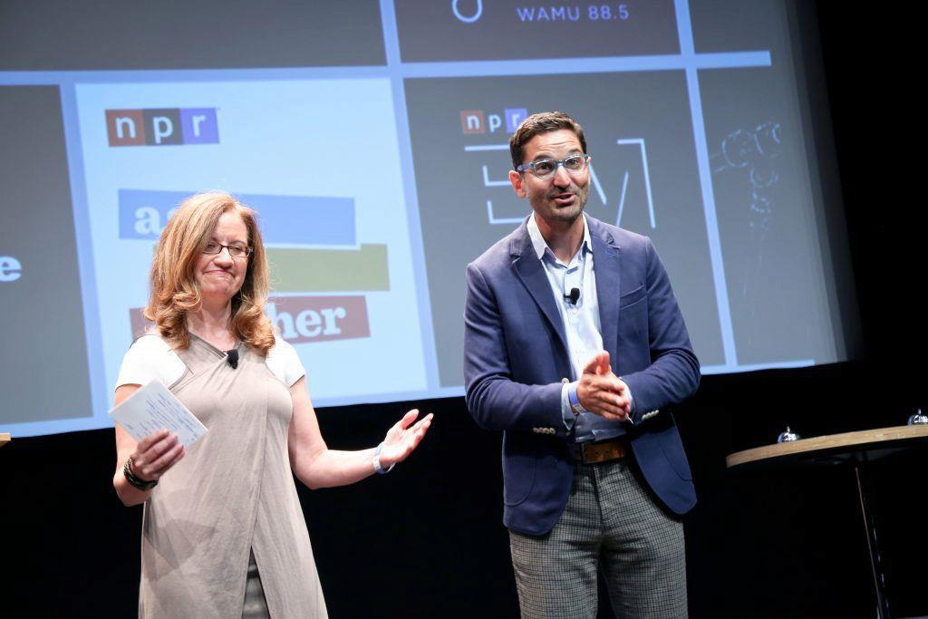 Anya Grundmann and Guy Raz talk NPR podcasts during the IAB Podcast Upfront